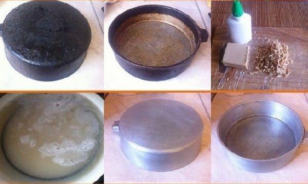 Как отмыть чугунную сковороду от нагара мылом