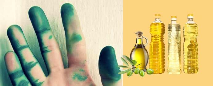 Зеленка отмывается маслом