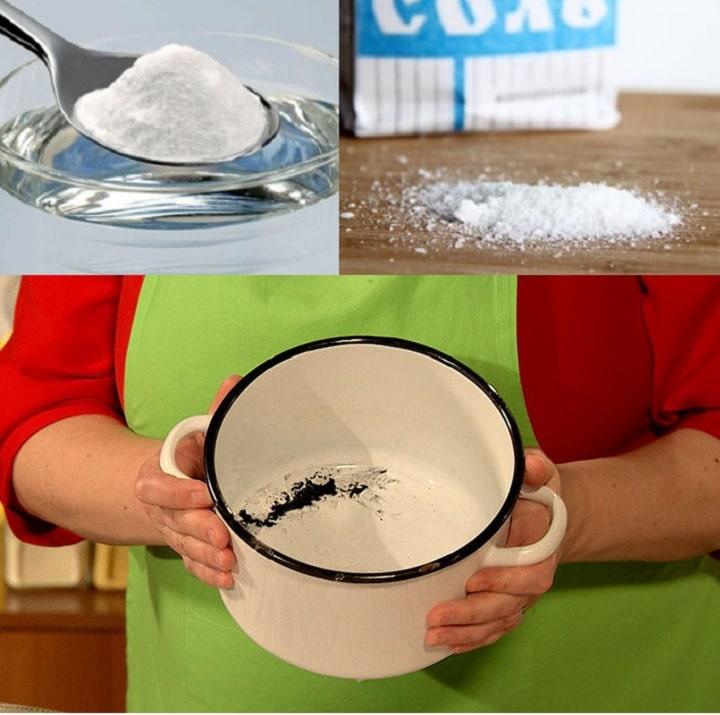 Как отмыть эмалированную кастрюлю солью