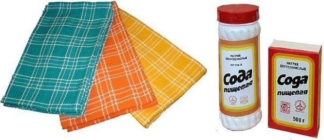 Как стирать кухонные полотенца содой