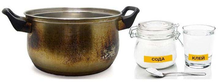 Как очистить пригоревшую кастрюлю из нержавейки содой и клеем