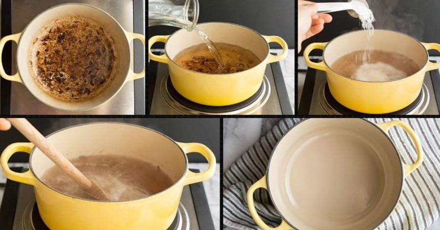 Как отмыть пригоревшую кастрюлю мыльным раствором