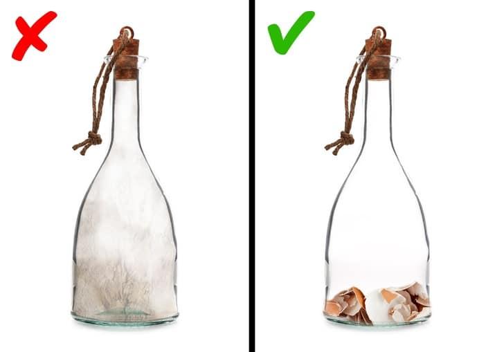 Как отмыть бутыль очистками яйца