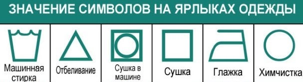 Символы на ярлыках одежды