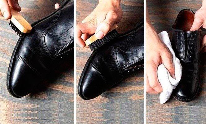 Этапы чистки обуви