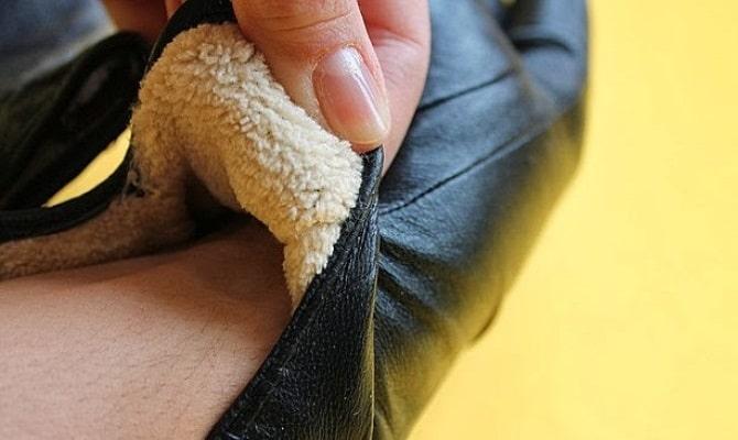 Внутренняя часть кожаных перчаток