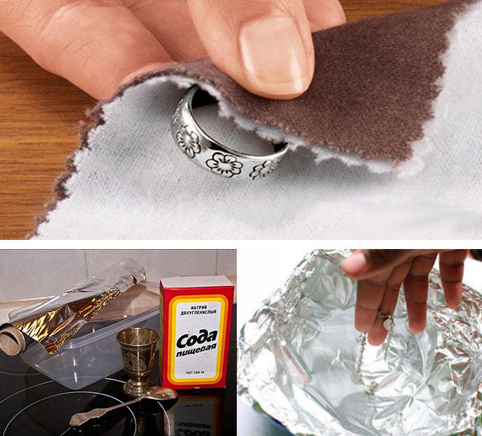 Очистка серебра содой