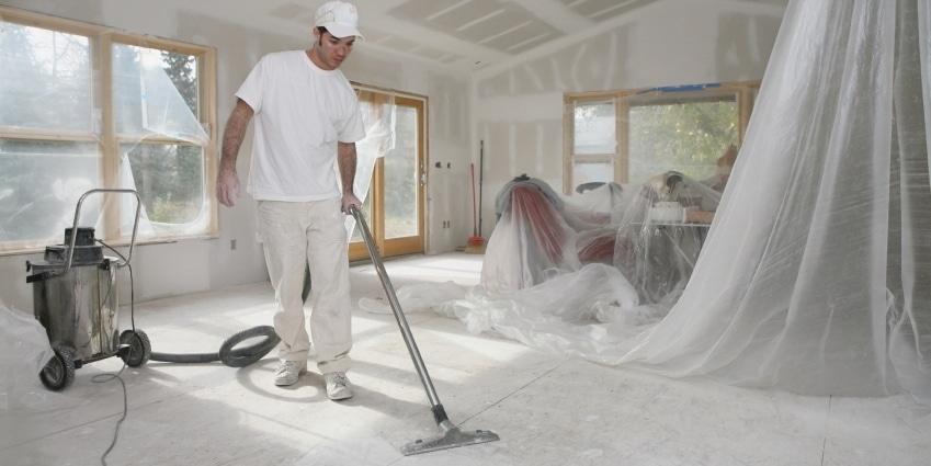 Очистка пола от строительной пыли